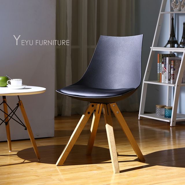 Minimalist Modern Design Plastic And Solid Wood Dining Chair With Cushion  Padded Simple Design Study Chair