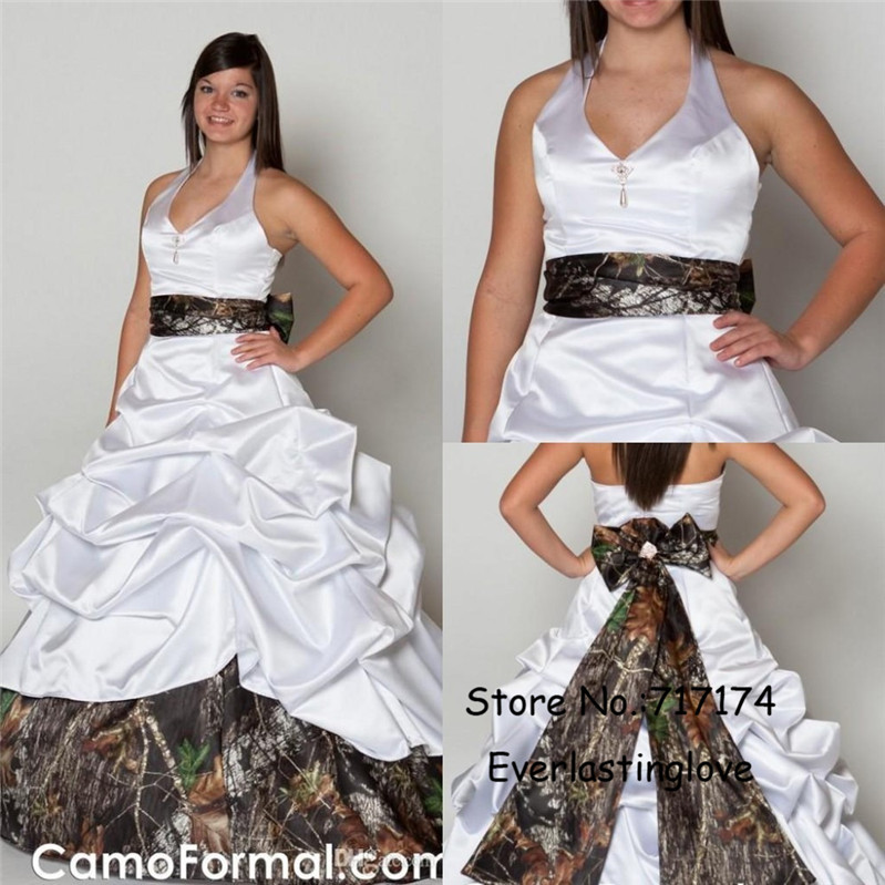 Aliexpress.com : Buy Halter Neckline Ruched Camo Wedding Dresses ...