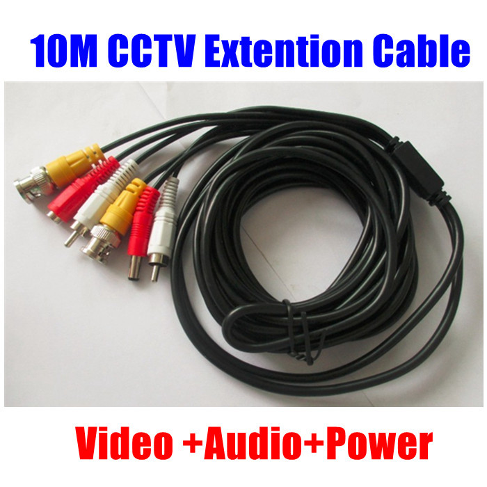 10M 33FT BNC RCA DC Audio Video Power Extension Copper Cable for CCTV Security Camera DVR Free Shipping