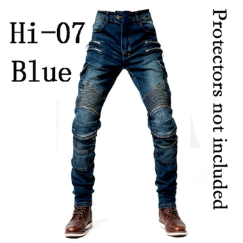2019 New Khaki Motorcycle Pants Black Men Moto Jeans Zipper Protective Gear Blue Motorbike Trousers Motocross Pants Moto Pants - Hi-07 Blue jeans O, M