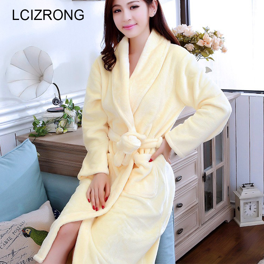 Spring New Warm Knee-Length Robes Women Long Sleeve Yellow Soft Comfortable Home Clothes Winter Loose Dressing Gown Female