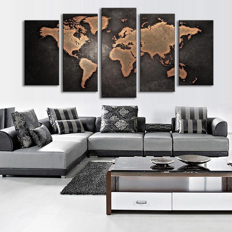 Pasaules karte Melnā fona sienas mākslas gleznošanas bildes Drukā - Mājas dekors - Foto 3
