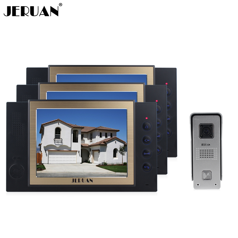 JERUAN New 8 inch video door phone intercom system doorbell doorphone with recording photo taking 3 monitors 700 TVL COMS Camera jeruan new doorbell intercom doorphone wireless video door phone with memory image station outdoor night vision function