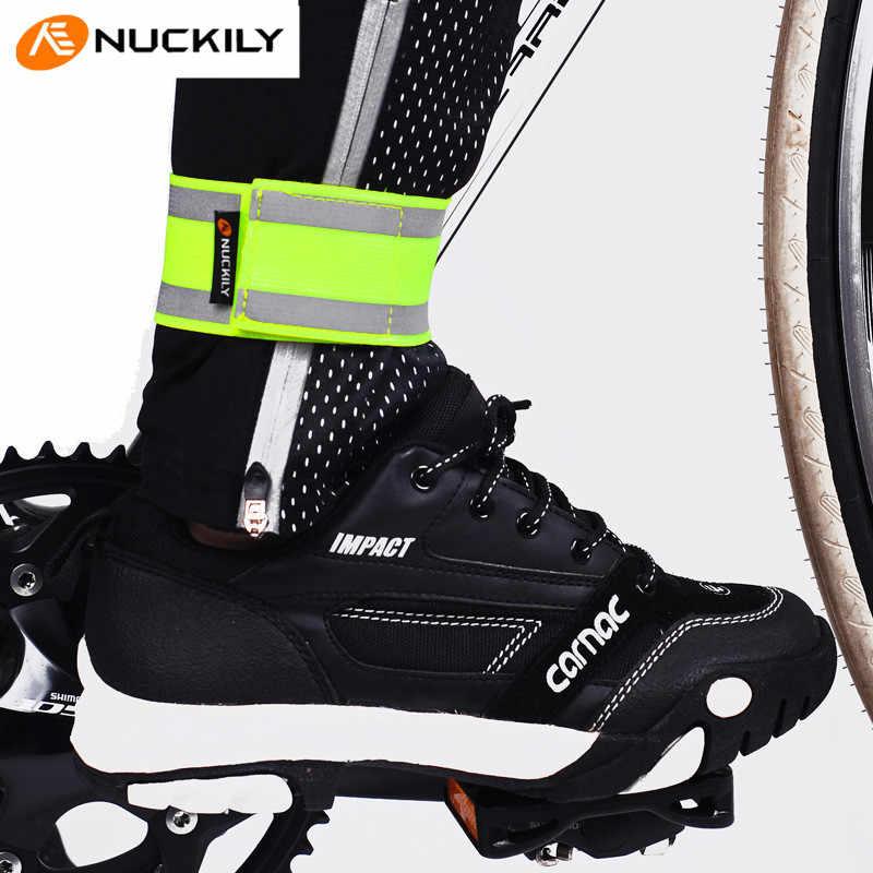 NUCKILY Yansıtıcı Uyarı Güvenlik Tayt Elastik Bant MTB Bisiklet Işın Pantolon Gece Açık Spor Koşu Sürme bacak ısıtıcısı