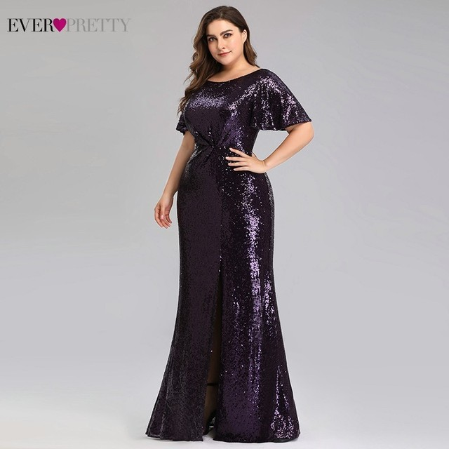 Plus Size Dark Purple Mermaid Evening Dresses Long Ever Pretty EP00928DP O-Neck Sequined Elegant Formal Dresses Robe De Soiree 2