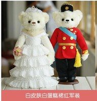 white layers skirt dress &red army suits bears about 35cm plush toys wedding dolls,proposal gift ,wedding gift t6829
