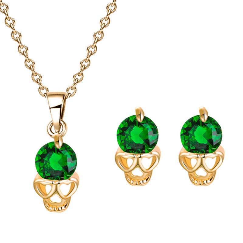 MISANANRYNE תכשיטי סט נשים של סגול ירוק אדום CZ קריסטל גולגולת שרשרת תליון עגילי סטים עבור מסיבת חתונה כלה