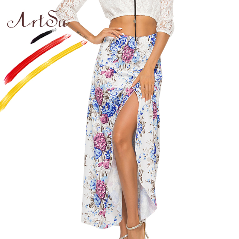 26573f47a0 ArtSu Boho Summer Floral Print Long Skirt Elastic Waist Sexy Split Beach  Skirts Jupe Femme Plus Size Chiffon Women Casual Skirt