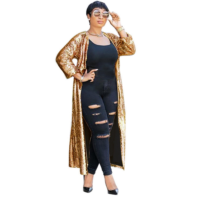 Sparkly Gold Sequin Cardigan Women Autumn 2018 Open Front Long Cardigan Coat Party Glitter Long   Trench   Coat Outwear for Women