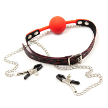 Nipple Clamps Mouth Ball Gag PU Leather+Plastic+Steel link Adjustable Mouth Ball Stopper With Nipple Clamps Adult Game