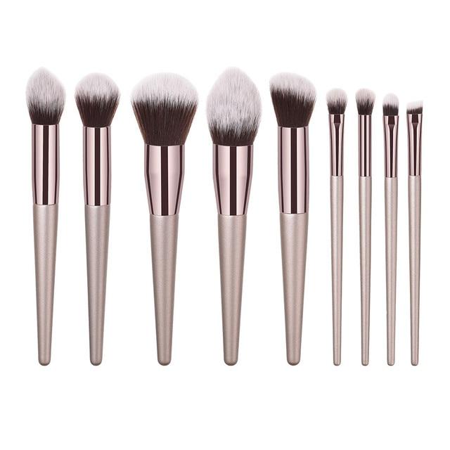 New Fashion 2019 10PCS Wooden Foundation Cosmetic Eyebrow Eyeshadow Brush Makeup Brush Sets Tools Maquiagem Drop Shipping Eye Shadow Applicator