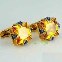 Золотые Запонки роскошные мужчины Рубашка манжеты кнопка Мозаика горный хрусталь запонки свадьба бизнесменов запонки