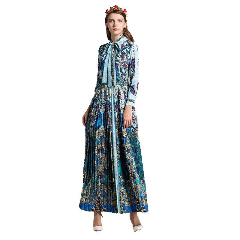 De Euroaméricains Printemps Femme Gamme À Qualité Longues Folk Indie Imprimé En Élégant Manches Turquoise Robe Haut Nouvelle Mode Polyester Haute Plissé 2018 g5qHxwdXg
