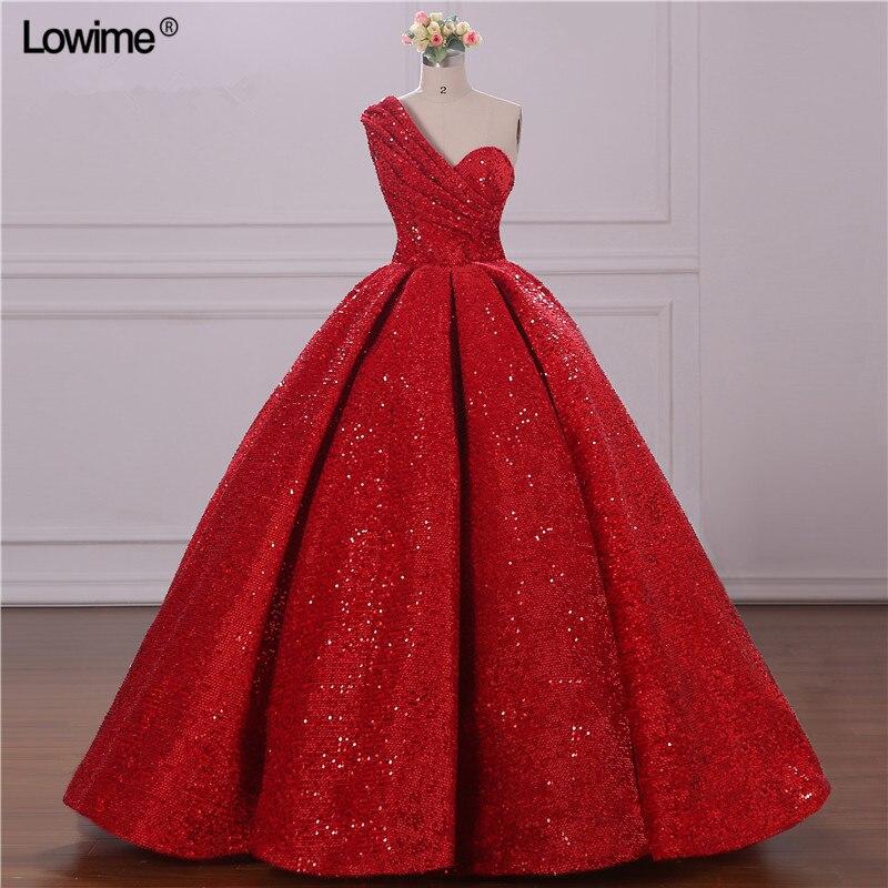 Rouge paillettes Elie Saab arabe robes de soirée formelles longue une épaule volants robes de bal robes de bal Abendkleider 2019