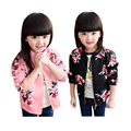 new design Sping&Autumn girls jacket print floral flower pattern long sleeves jacket for 2-6yrs girls  kids clothes hot sale
