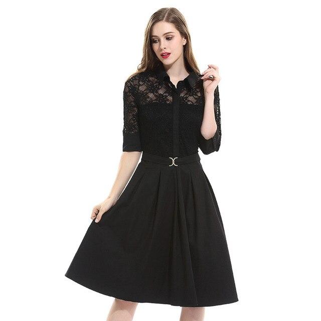 Aamikast Women Dresses New Arrive Summer Lace 3 4 Sleeve Party Evening  Business Loose Vintage Elegant Dresses 0af2ac45dede