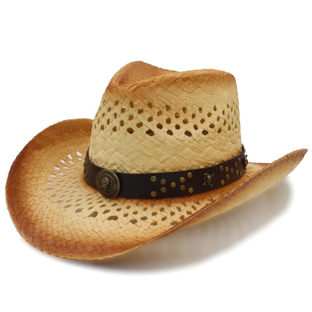 100% QualitäT Mode Frauen Männer Western Cowboy Hut Mit Punk Leder Band Gentleman Strand Sonne Sombrero Cowgirl Hut Größe 58 Cm Wir Haben Lob Von Kunden Gewonnen