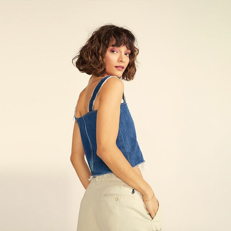 Simenual Lace Up Vintage Jeans Tops Women Strap Sleeveless Fashion Tank Top Summer 2019 Casual Streetwear Denim Crop Tops Blue