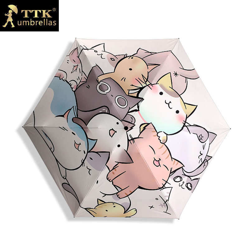 TTK Katzen Mini Sonnenschirm Frauen Schwarz Beschichtung Sonnencreme Marke Tasche 5 Folding Regenschirme Kinder Guarda Chuva Mode Paraguas