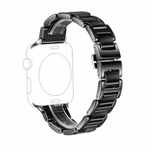 Ceramic Watchband for Apple Watch 38mm 42mm 40mm 44mm Stainless Steel Buckle Bracelet for Iwatch Series 4 3 2 1