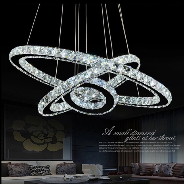 Modern Lamp 3 Ring Led Double Round Crystal Chandelier Aslo For Whole Galaxy