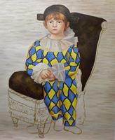 High Quality Copy Picasso Work Wearing A Clown Jacket Paul 100 Pure Hand Painted Oil Painting