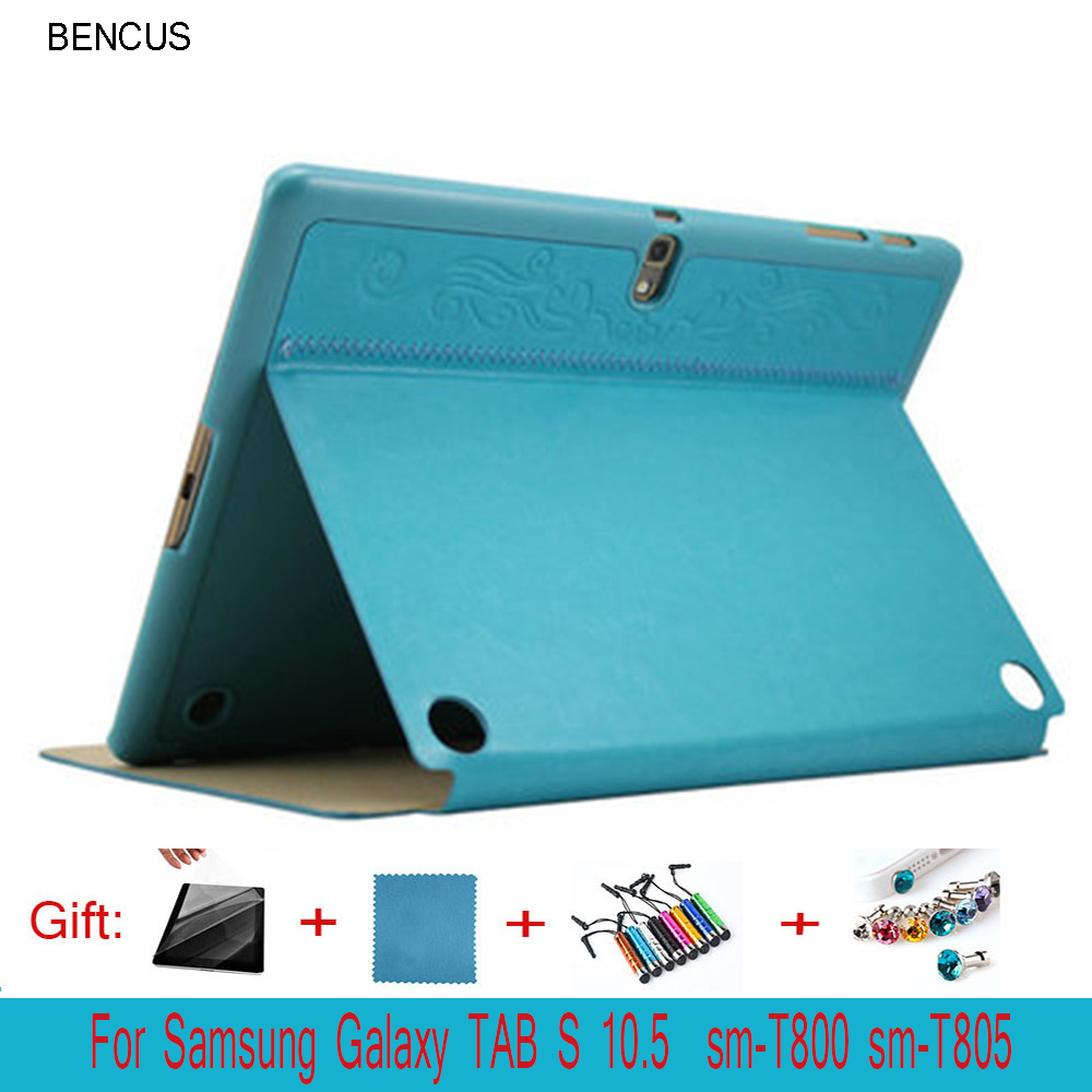 BENCUS for Samsung Galaxy tab S 10.5 smart cover case Auto Sleep-Awake up /stand sm-T800 T805C tablet Case +Pen