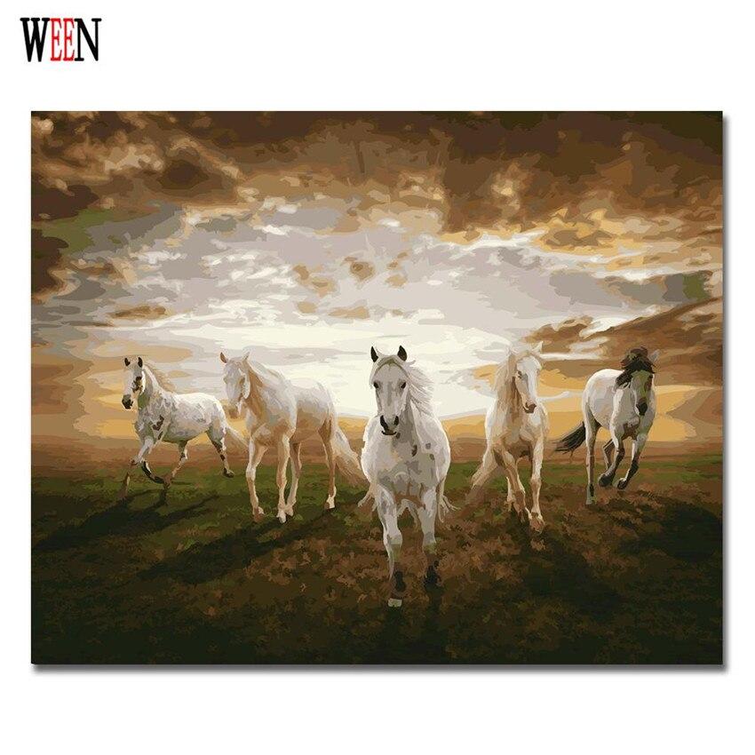 Cinco Coloração de Cavalos da Pintura A Óleo Por Número DIY Home Decor Parede Pictures By Numbers Lona Pintados À Mão Arte Poster Quadros