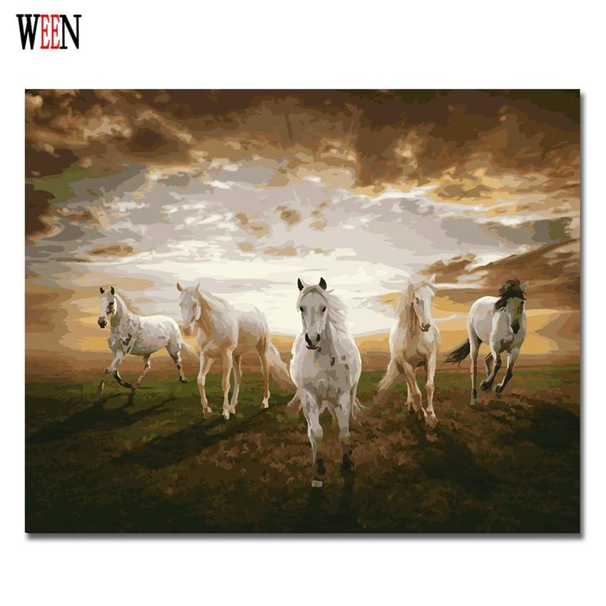 Fünf Pferde Ölgemälde Färbung Nach Anzahl Home Decor DIY Handgemalte Wandbilder Nach Zahlen Leinwand Kunst Poster Quadros