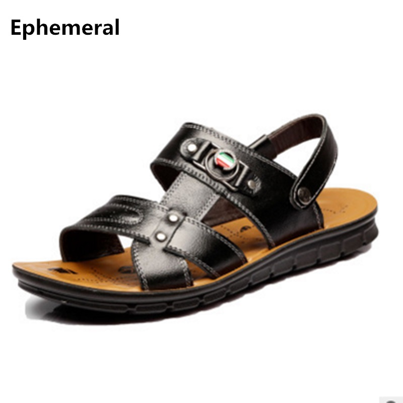Ephemeral Sandals Buckle Beach-Shoes Open-Toe Black Summer-Style Plus-Size Brown Man