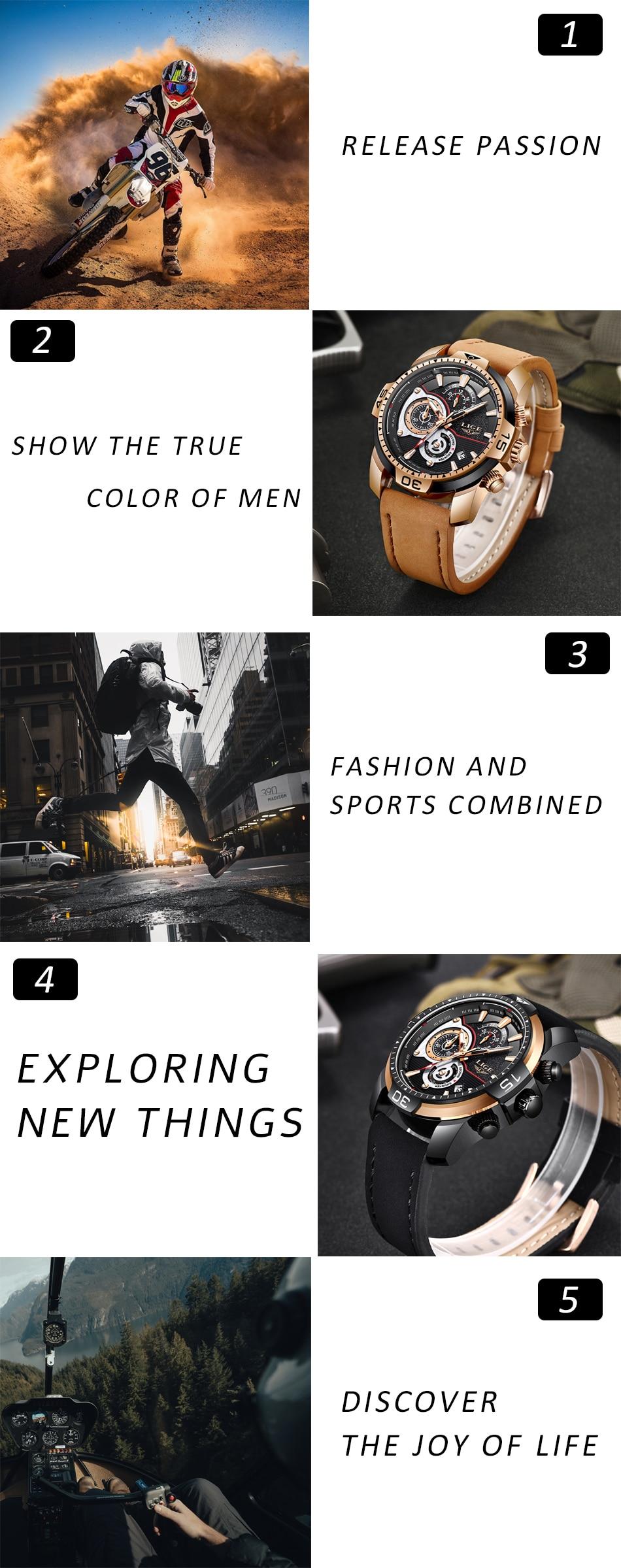 HTB1e7 fXozrK1RjSspmq6AOdFXay LIGE Mens Watches Top Brand Luxury Casual Leather Quartz Clock Male Sport Waterproof Watch Gold Watch Men Relogio Masculino