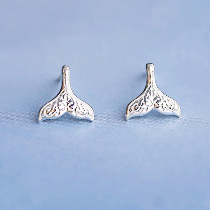 Shuangshuo Silver Plated Fashion Dolphin Tail Stud earrings for Women Animal Whale Tail Earrings Bridesmaid Gift