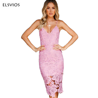ELSVIOS 2018 Summer Backless V Neck Sling Lace Dress Lady Sexy Hollow Out Split Midi Dress
