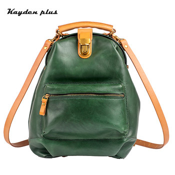 New Solid Color Leisure Backpack Ladies Leather Handmade Backpack Top Layer Cowhide Fashion Simple Large Capacity Female Bag
