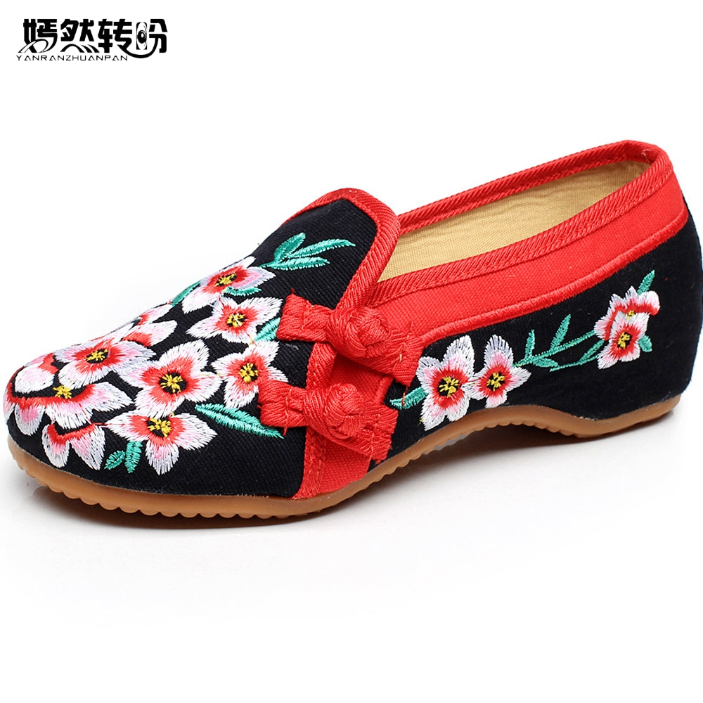 New Women Flats Cloth Chinese Old BeijingWedding National Peach Blossom Embroidery Shoes Square Dance Single Ballet Shoes Woman chinese women flats shoes flowers casual embroidery soft sole cloth dance ballet flat shoes woman breathable zapatos mujer