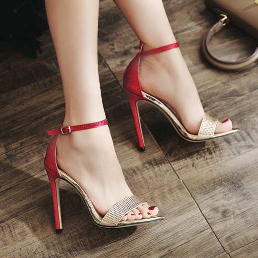 82d32404156534 Woman Summer Sexy Rhinestone Sandals 2018 New Women Shoes Red 11cm High  Heel Ankle Strap Heels-in High Heels from Shoes on Aliexpress.com
