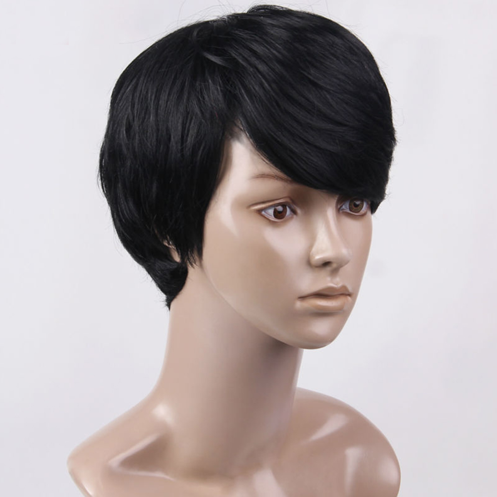 ELEMENT Sytnethic Blend Doğal Saç Peruk Peri Kesim Kısa Peruk - Sentetik Saç - Fotoğraf 3