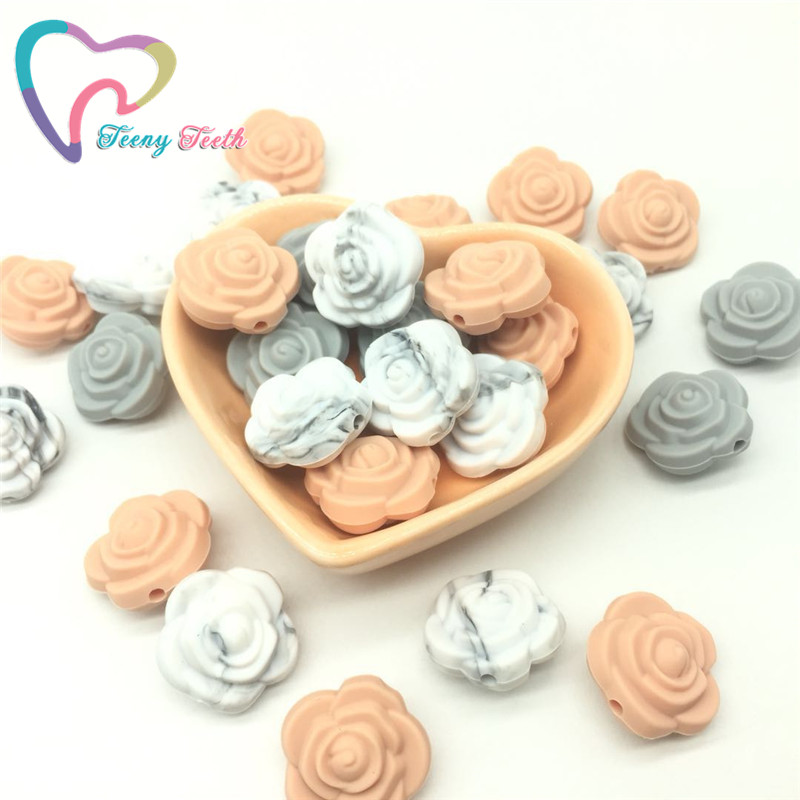 Teeny Teeth 10pcs Marble Flower Chewable Rose Silicone Beads Baby Teething Toys Food Grade Silicone For Diy Dummy Chain Necklace Exquisite Traditional Embroidery Art Beads Beads & Jewelry Making