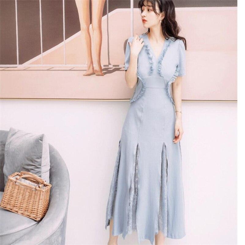 2019 nouveau été femmes dos nu fée robe doux français rétro tricoté longue dentelle couture robe bleu/rose r1093