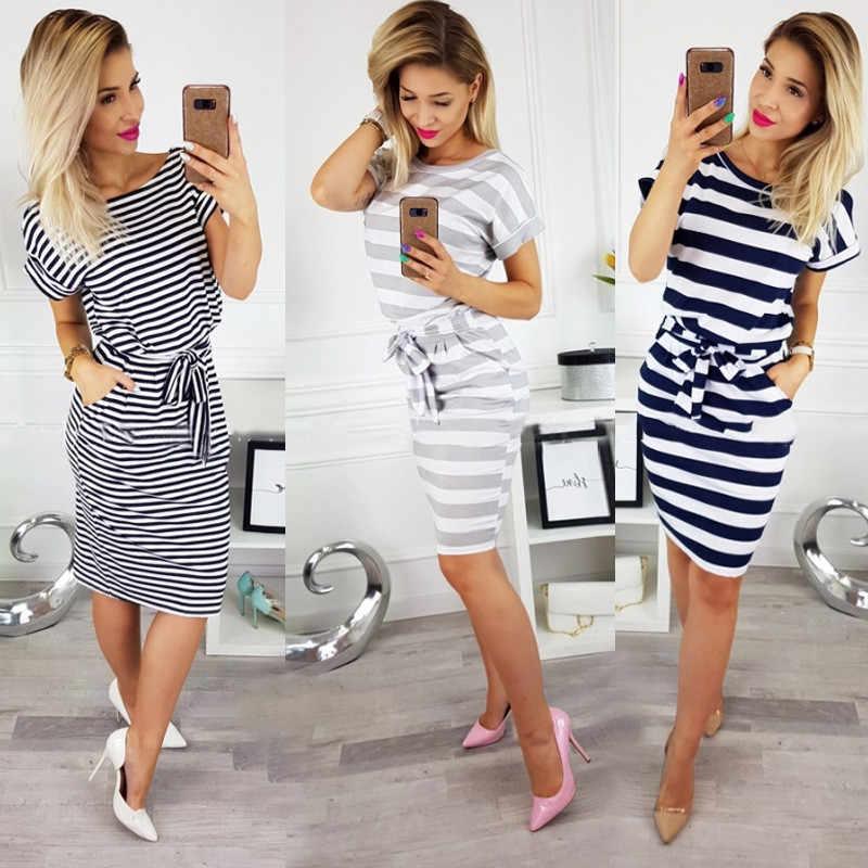 새로운 여름 여성 드레스 캐주얼 반소매 o-넥 스트 라이프 플러스 사이즈 슬림 Bodycon 복장 여성 솔리드 포켓 미디 코튼 드레스