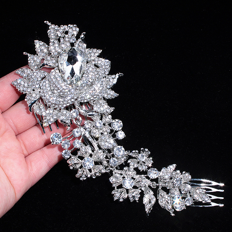 Brand Elegant Wedding Hair Jewelry Accessories for Women Charm Crystal Flower Bridal Hair Comb Head Pieces Hair Pins