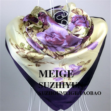 2019 Elegent Women Large Square Silk Scarf Printed,90*90cm Fashion Spring And Autumn Grey Purple Polyester Shawl