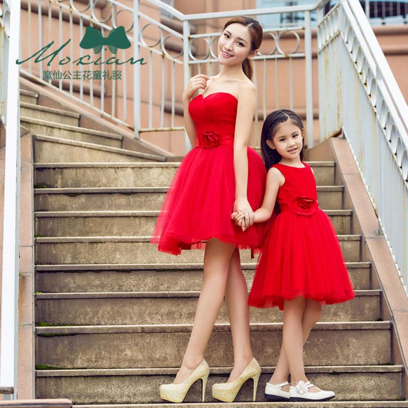 Mère fille robes de mariée rouge maman enfants maman et Duaghter Vestidos correspondant robes de demoiselle d'honneur soirée robe Tutu