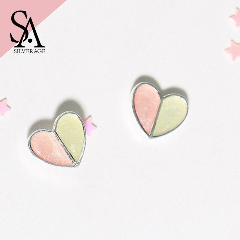 SA SILVERAGE 925 Sterling Silver Pink Heart Lovely Stud Earrings For Women Fine Jewelry Trendy Party Earring 2018 New Arrivals