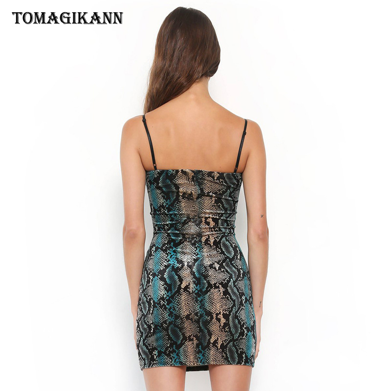 Sexy Snake Skin Print Strap Bodycon Mini Dress 2019 Elegant Sleeveless Tight Sundress Party Club Summer Dresses Vestidos in Dresses from Women 39 s Clothing