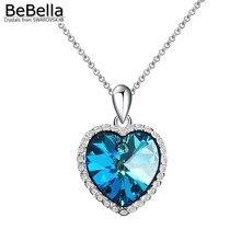 BeBella Голубое сердце ожерелье с кристаллами из элементов Swarovski Подлинная Мода ювелирные изделия для женщин Девушка свадебный подарок для гостей