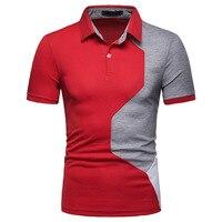 e299c11c20 Contrast Color Men Polo Shirts Short Sleeve Patchwork Clothing 2019 New  Summer European American Style Casual. Cor do contraste Dos Homens Camisas  Pólo ...