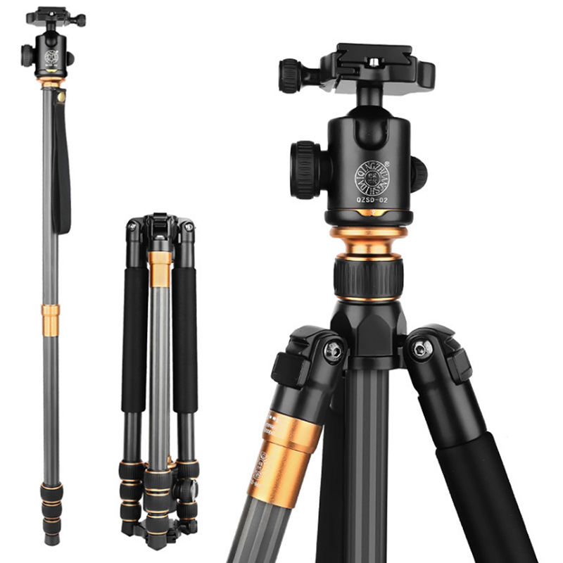 QZSD Q999C Professional Carbon Fiber Camera Tripod Monopod Extendable Travel Video Tripod with Ball Head and