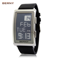 2017 New Arrival BERNY Electronic Ink Watches Men Alarm Auto Date Square Mens Watch Leather Strap