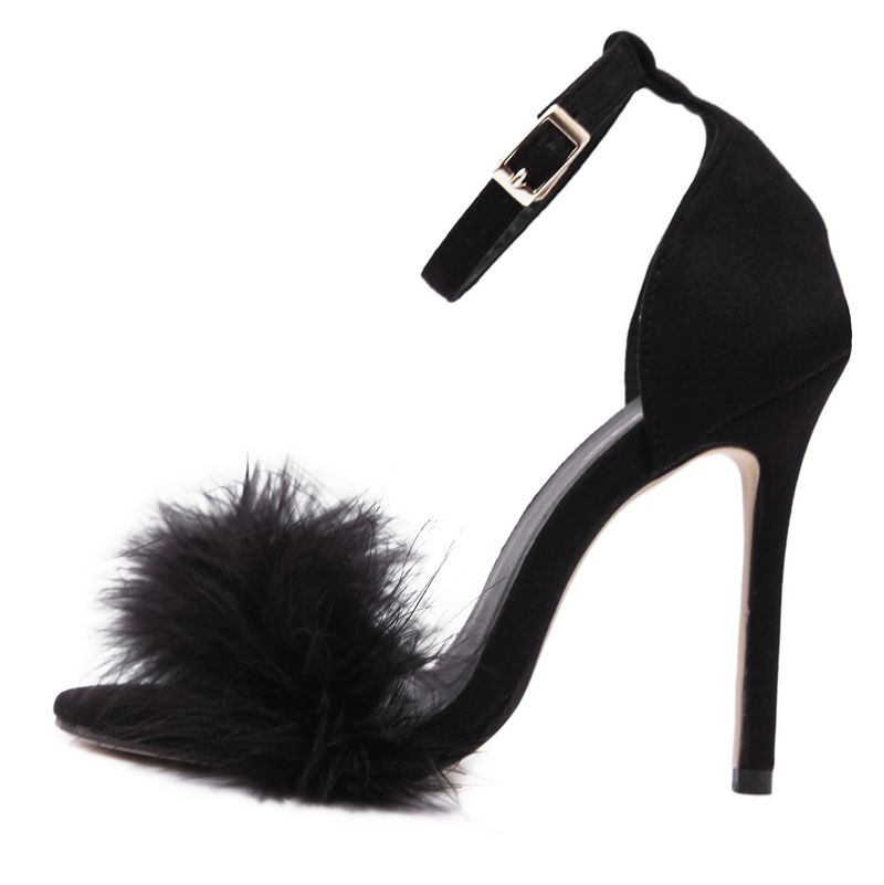 29231b239d0 2019 women summer shoes fluffy peep toe stilettos high heels shoe woman fur  feather lady wedding sandals pink nude large size 43-in High Heels from  Shoes on ...